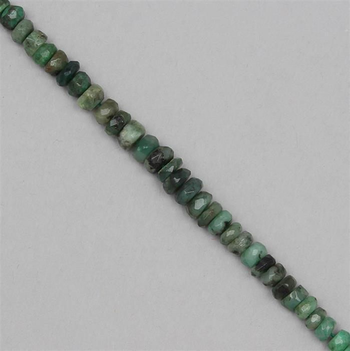 50cts Emerald Graduated Faceted Rondelles Approx 2x1 to 6x4mm, 21cm Strand.