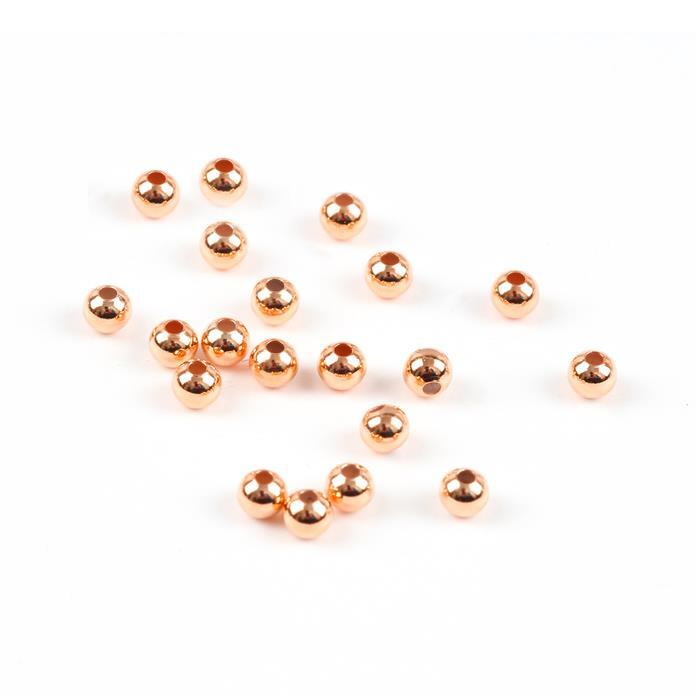 Rose Gold Plated Sterling Silver Spacer Beads - 3mm (20pcs)