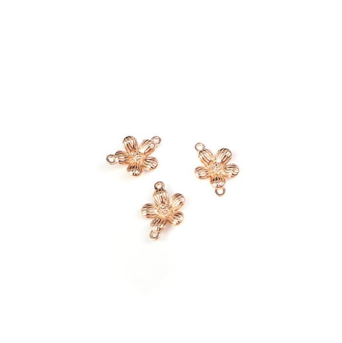 Rose Gold Plated 925 Sterling Silver Spring Flower Connectors Approx 10x14mm 3pcs