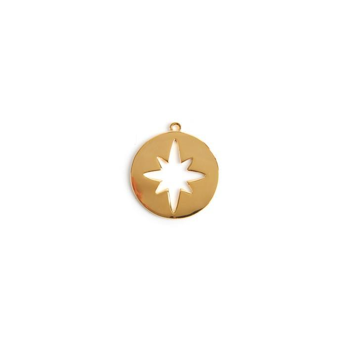 Gold Plated 925 Sterling Silver North Star Cut Out Pendant Appprox 20x22mm