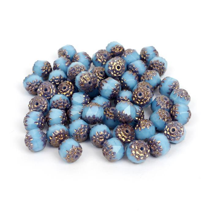 Little Extras! 2x Czech Cathedral Beads - Turquoise Bronze, 8mm (25pcs)