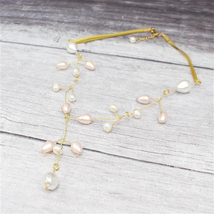 Baby's Breath INC Pink & White Pearl Drops, White Potato Pearls & 8cts Rose Quartz