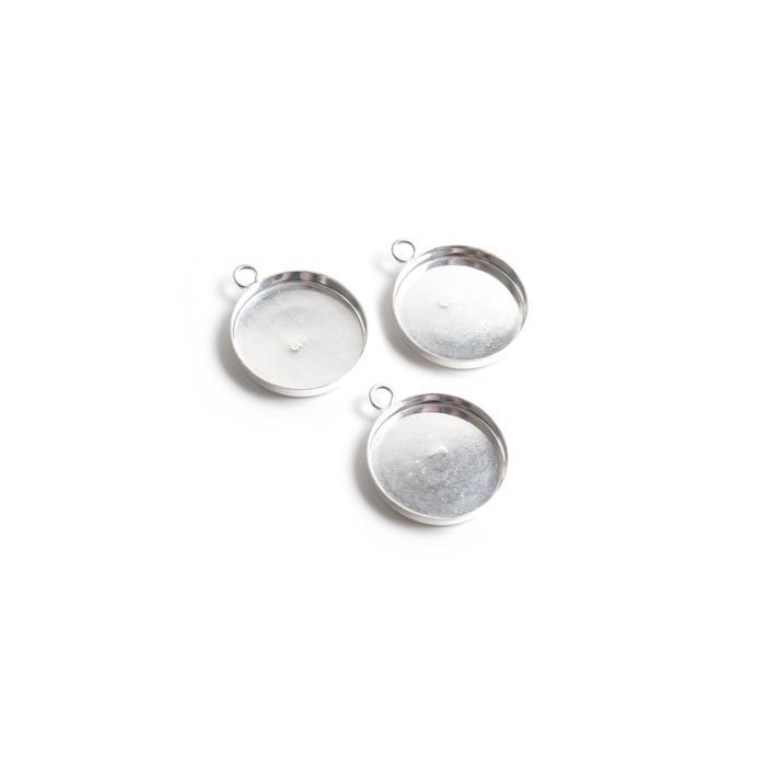 925 Sterling Silver 15mm Round Pendant Bezels. (Pack of 3Pcs)