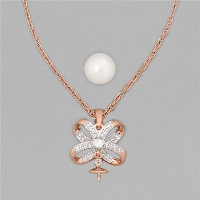 Rose Gold Plated 925 Sterling Silver Necklace Finding 23x17mm Inc. Freshwater Cultured Pearl 9mm Round & 0.014cts White Topaz Round