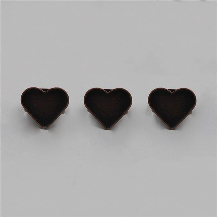 Size 7 Antique Copper Plated Heart Bezel Rings - 20mm (3pcs/pk)