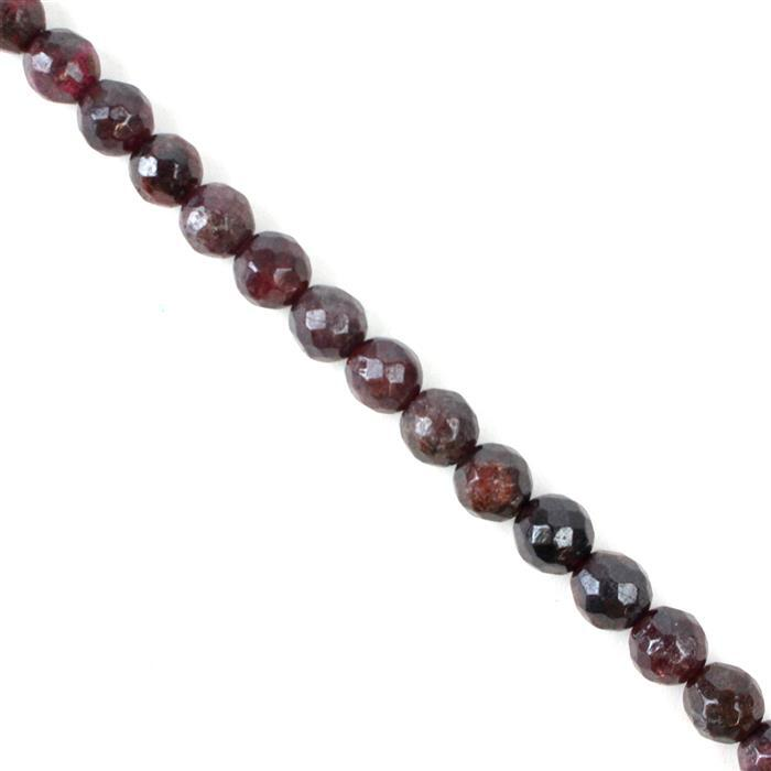 190cts Red Garnet Faceted Rounds Approx 7mm, 38cm strand