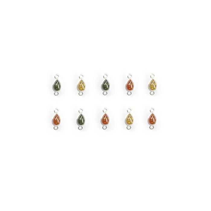 Baltic Multicolour Amber Sterling Silver Teardrop Connectors Approx 12x5mm, 10pcs