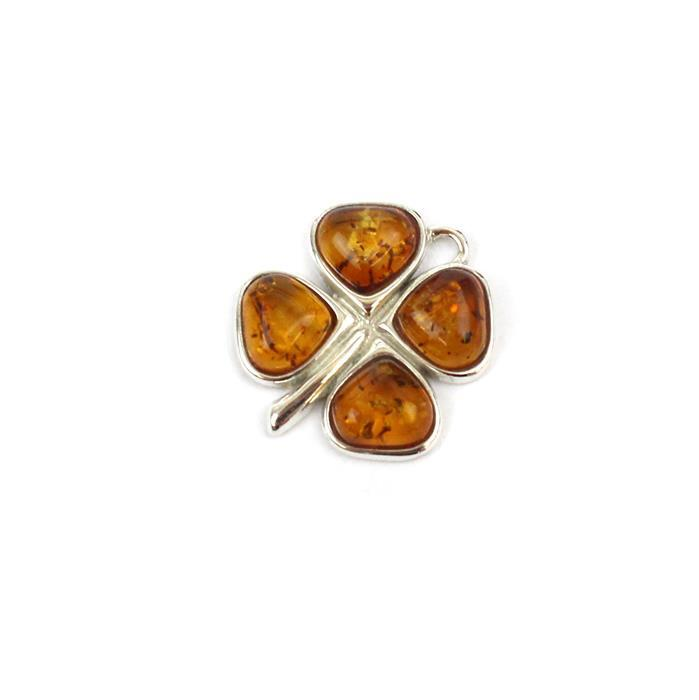 Baltic Cognac Amber Clover Charm Approx 18mm Sterling Silver