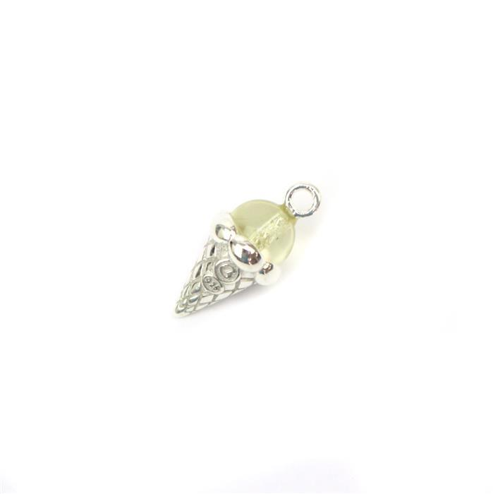 Baltic Lemon Amber Icecream Charm Approx 18x9mm Sterling Silver