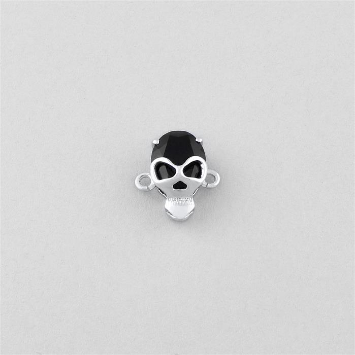 925 Sterling Silver Gemset Skull Connector Approx 13x12mm Inc. 2.20cts Black Onyx Brilliant Oval Approx 10x8mm.