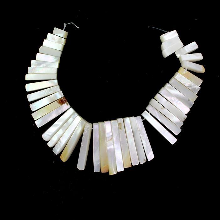 White Shell Layout Bars Approx from 10x4mm to 30x4mm, 41pcs Strand
