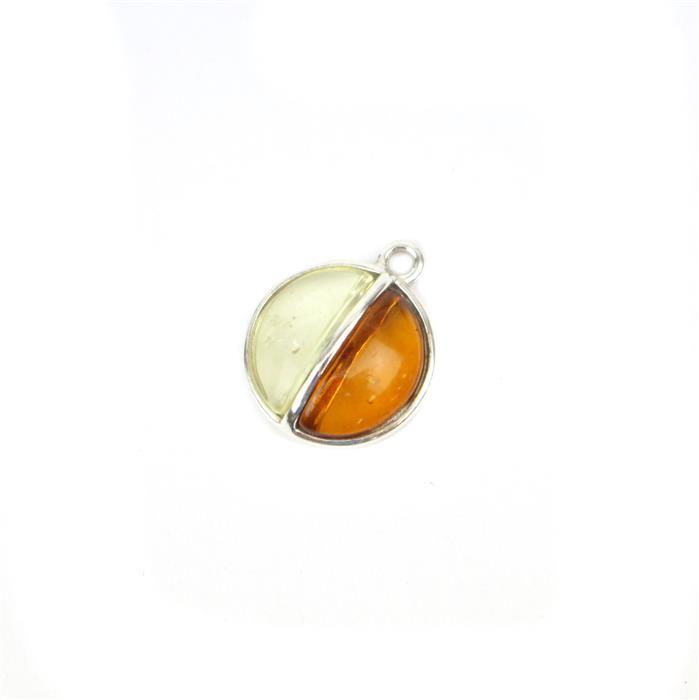 Baltic Multi colour Amber Other Half Charm, Approx 15x13mm Sterling Silver