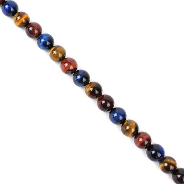 280cts Multi-Colour Tigers Eye Plain Rounds 3 colours Approx 10mm, 38cm strand