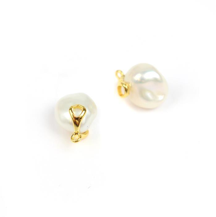 Freshwater Baroque Pearl Charms With Gold Plated 925 Sterling Silver Bar Approx 13x9mm (2pcs)