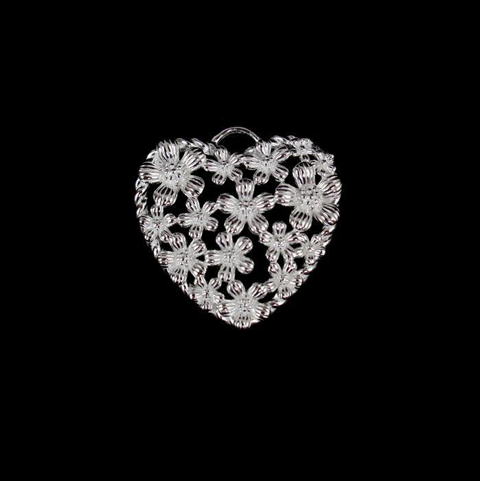 925 Sterling Silver Spring Heart Pendant Approx 20mm