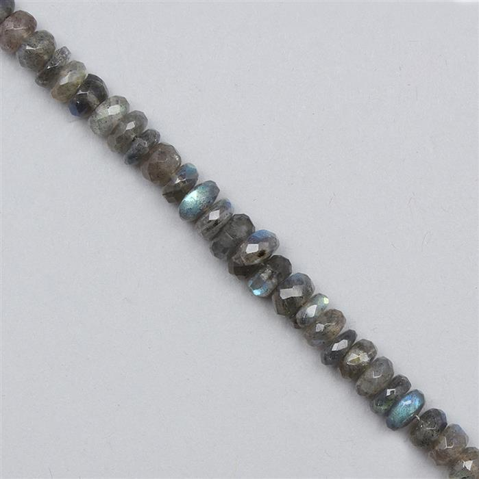 95cts Labradorite Graduated Faceted Rondelles Approx 3x1 to 7x4mm, 29cm Strand.