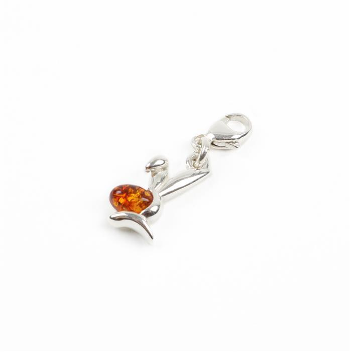 Baltic Cognac Amber Sterling Silver Bunny Charm Approx 23x10mm