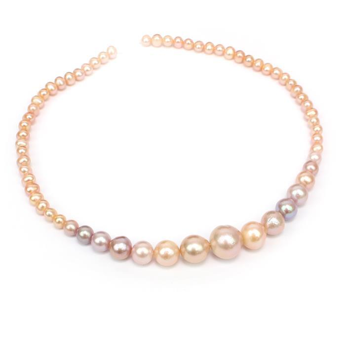 Apricot and Multi Colour Graduated Pearls Approx 5-14mm, 38cm Strand