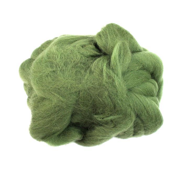 Shetland Top Olive Felting Wool 100g