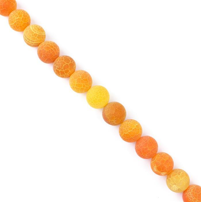430cts Orange Frosted Crackled Agate Plain Rounds Approx 14mm, 8cm strand