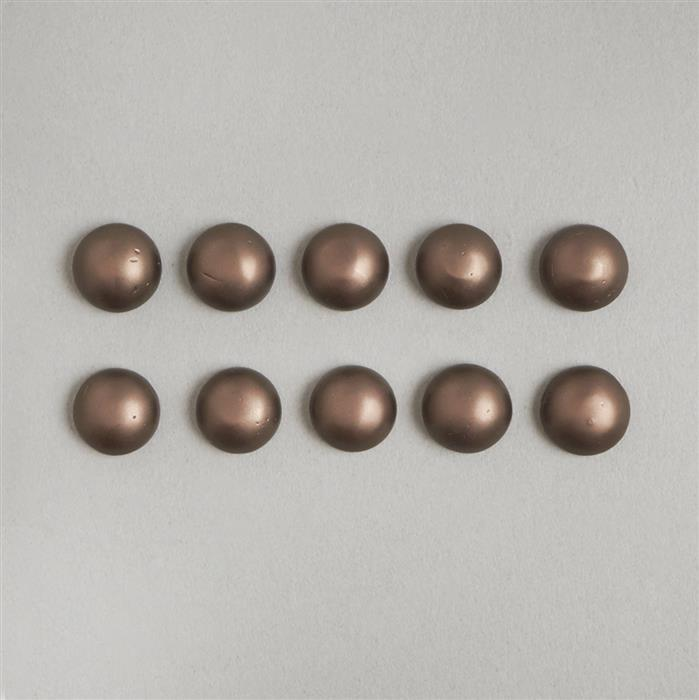 Coffee Frosted Shell Pearl Round Cabochons Approx 10mm (10PCS)