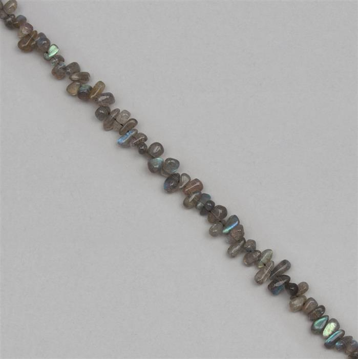 72cts Labradorite Graduated Irregular Plain Drops Approx 4x1 to 8x2mm, 30cm Strand.