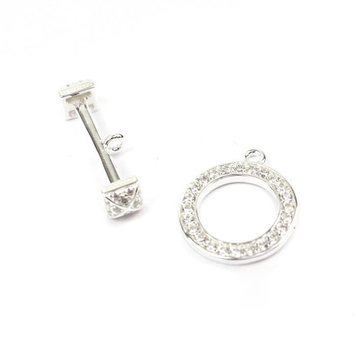 925 Sterling Silver With Cubic Zircon Stone Setting Toggle Clasp Approx 17mm Tog 21mm Bar 1set