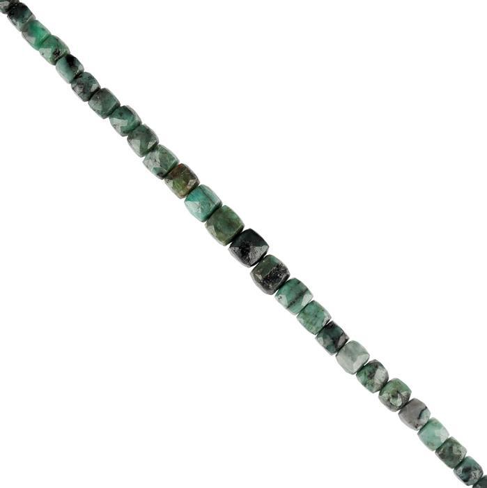 136cts Emerald Graduated Faceted Cubes Approx 5 to 9mm, 20cm Strand.
