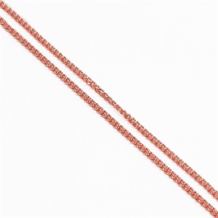 Rose Gold Plated Brass Curb Chain - 1x1.6mm (1m)