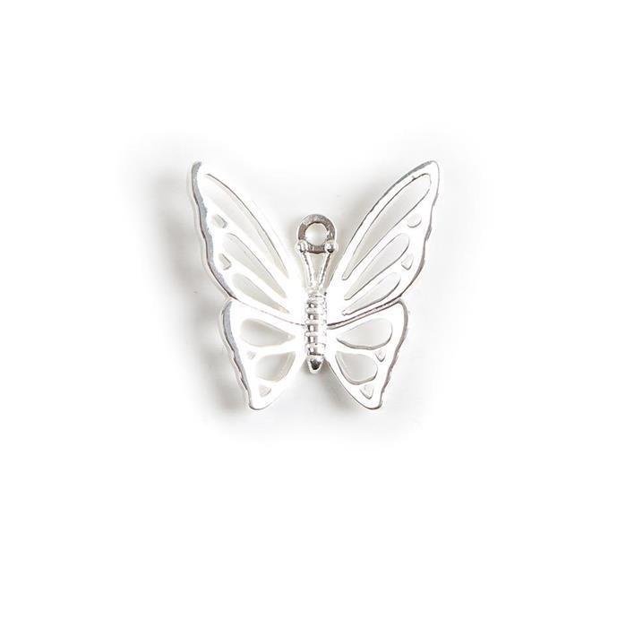 925 Sterling Silver Filigree Butterfly Pendant Approx 20mm 1pk
