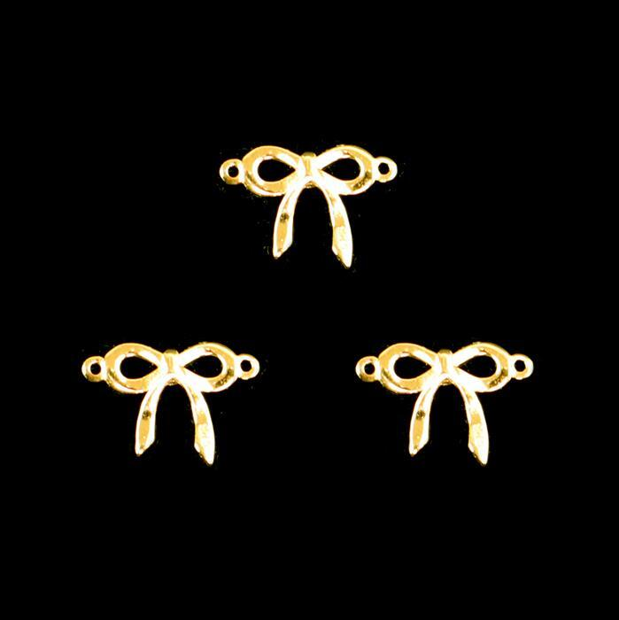 Gold Plated 925 Sterling Silver Bow Connectors Approx 9x13mm 3pcs