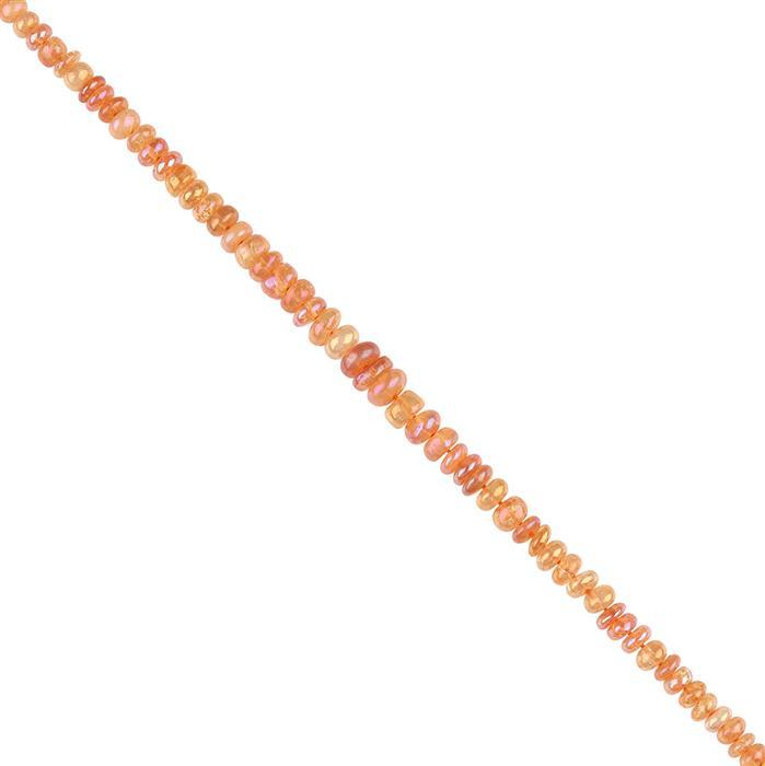 35cts Mystic Colour Coated Quartz Graduated Plain Rondelles Approx 2x1 to 6x3mm, 18cm Strand.