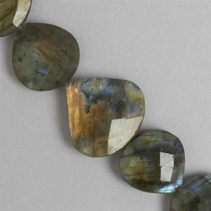 260cts Labradorite Graduated Faceted Flat Drops Approx 8 to 21mm, 32cm Strand.