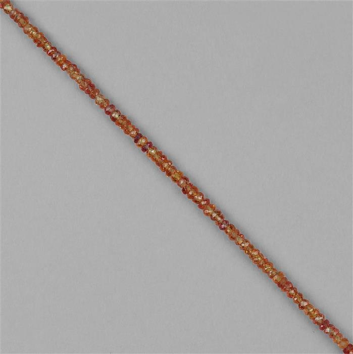 18cts Orange Sapphire Graduated Faceted Rondelles Approx 2x1 to 3x2mm, 18cm Strand.