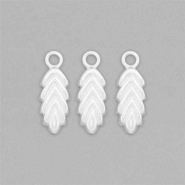 925 Sterling Silver Leaf Charms Approx 20x7mm (3pcs)