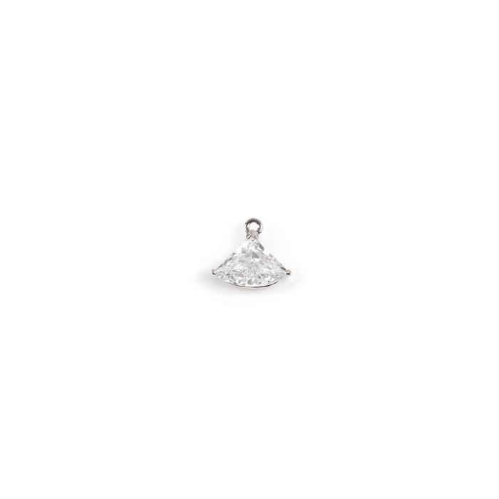 925 Sterling Silver Fan Shape Cubic Zirconia Charm, Approx 13x11mm, 1pcs