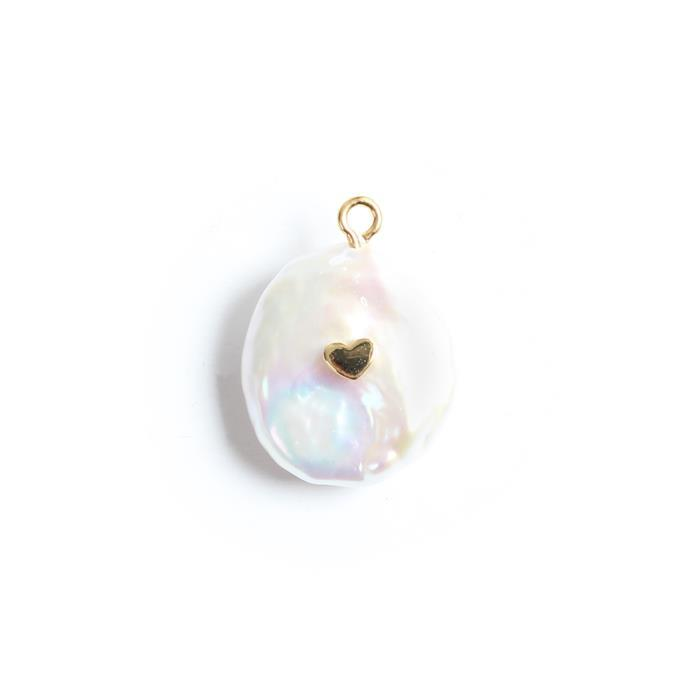 Freshwater Baroque Pearl Charm With Gold Plated 925 Sterling Silver Heart Approx 15x21mm