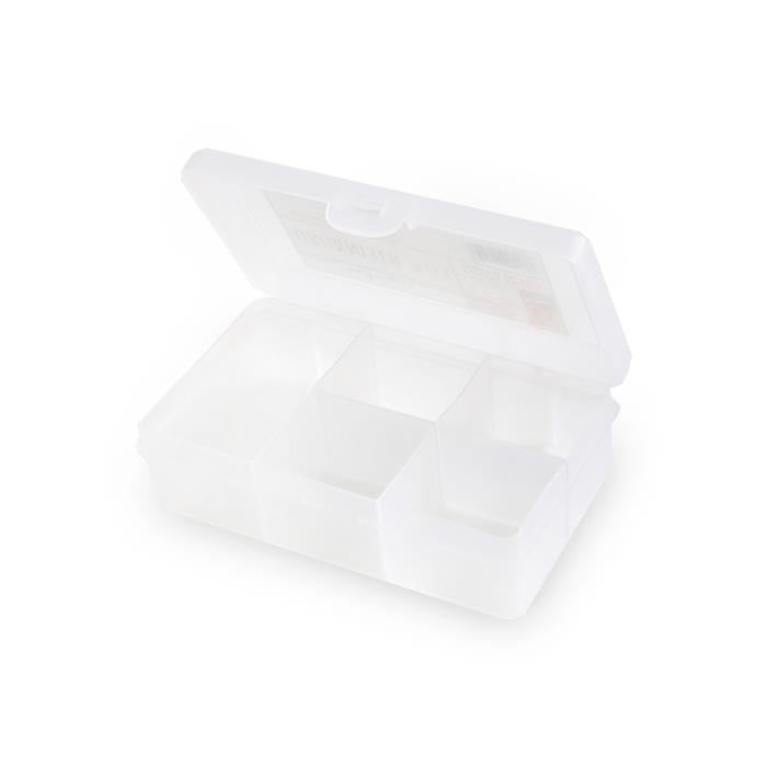 1.01 Clear Organiser Box With 5 Divisions 14.5x9.5x4cm