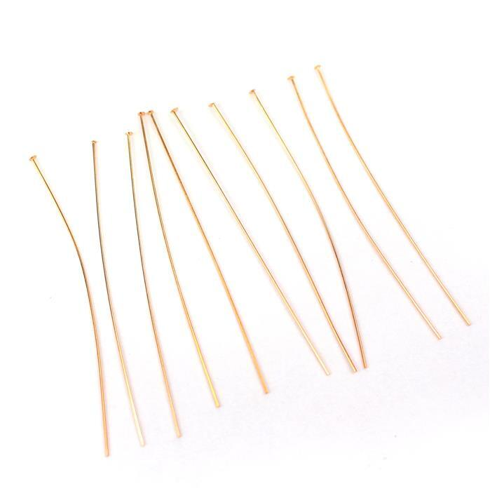 Rose Gold Plated 925 Sterling Silver Headpins - 50mm (0.4mm) - (10pcs/pk)