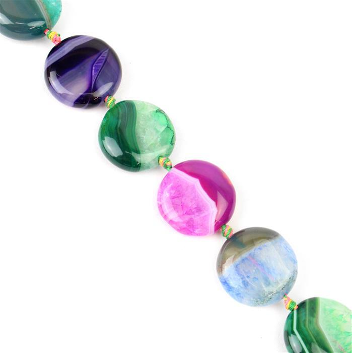350cts Multi-Colour Agate Coins Approx 20mm 38cm strand