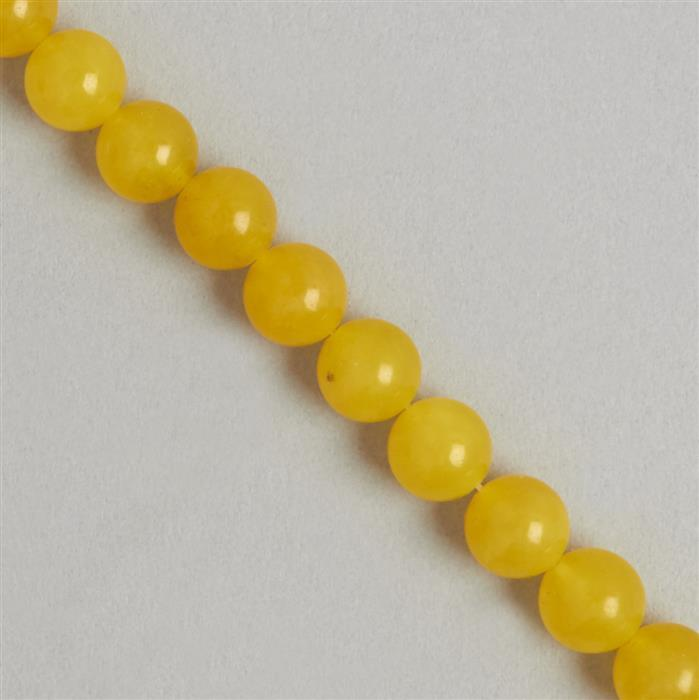 250cts Yellow Colour Dyed Quartz Plain Rounds Approx 10mm, 35cm Strand.
