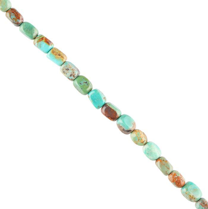 35cts Turquoise Plain Rectangles Approx 5x3mm, 28cm Strand.