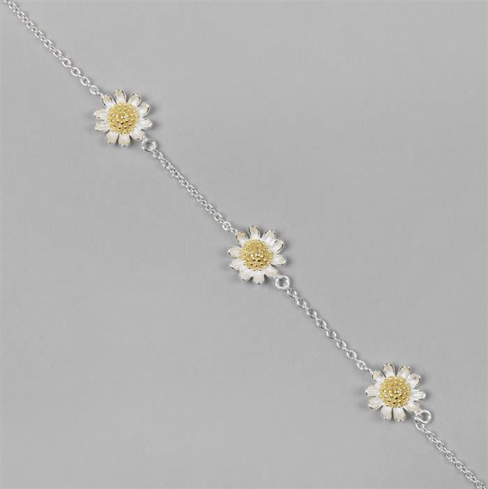 925 Sterling Silver 2 Tone Daisy Flower Chain Approx 40cm Length , 1pc