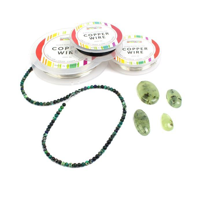 Green Goddess: Prehnite Cabochons, Variscite Rounds, 0.25mm, 0.6mm & 1.0mm Wire