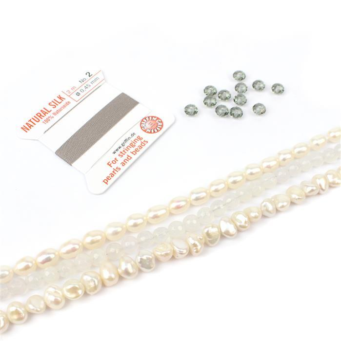 Stunning:White Cultured 6x7mm & white Rice pearls,Chalcedony 6mm rds,Swarovski,silk thread