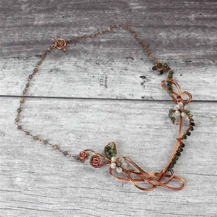 Green Earth: Emerald, Labradorite, & Sillimanite strands with copper wire