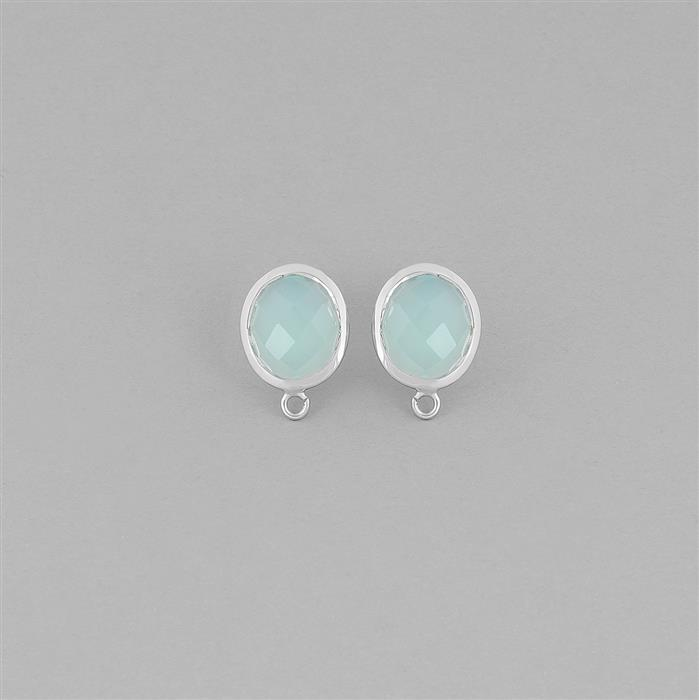 925 Sterling Silver Gemset Studs Approx 15x11mm Inc. 6cts Aqua Chalcedony Checkerboard Ovals 11x9mm
