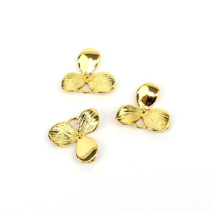 Gold Plated 925 Sterling Silver Single Flower Charms 15x14mm 3pk