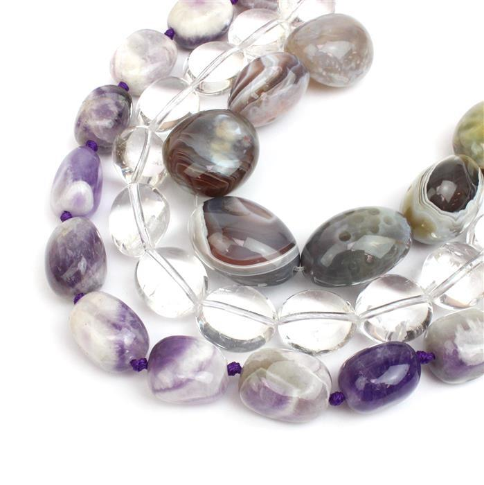 Big Tumble Collection! Dog Tooth Amethyst, Clear Quartz and Botswana Agate