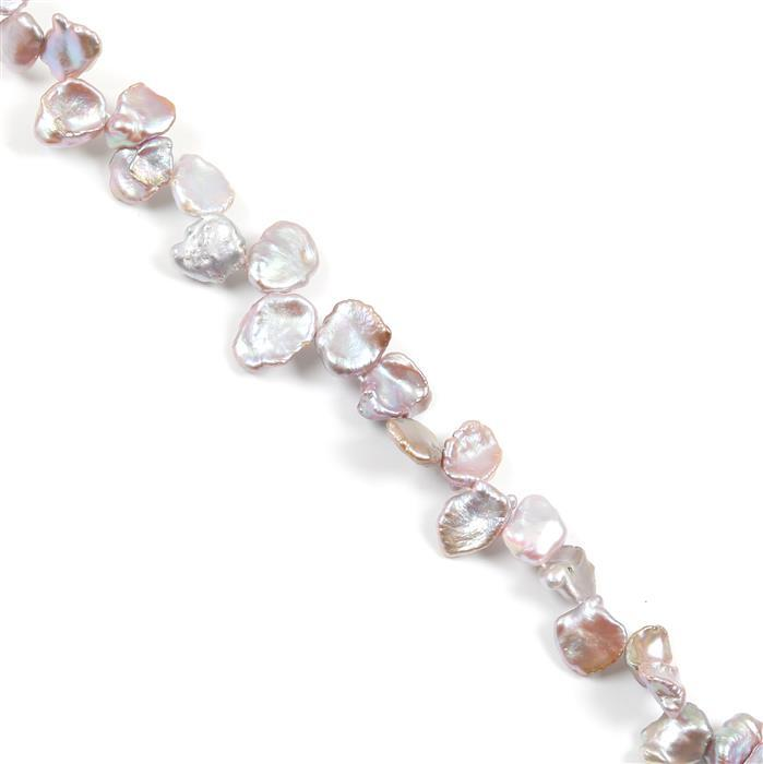 Metallic Lavender Freshwater Cultured Keshi Pearls Approx 11x14mm, 38cm Strand
